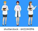 set of three female doctors in... | Shutterstock .eps vector #642244396