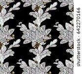 gold black floral ornament in... | Shutterstock .eps vector #642270166