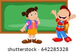 cute little boy and girl with... | Shutterstock .eps vector #642285328