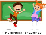 boys and girls jumping in front ... | Shutterstock .eps vector #642285412