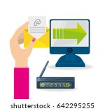 woman using the internet and... | Shutterstock .eps vector #642295255