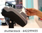 woman paying with nfc... | Shutterstock . vector #642299455