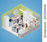restaurant kitchen interior.... | Shutterstock .eps vector #642304426