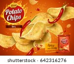 potato chips advertisement ... | Shutterstock .eps vector #642316276