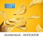 potato chips sliced from a... | Shutterstock .eps vector #642316318