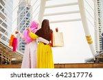 happy of standing two woman... | Shutterstock . vector #642317776