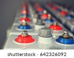 Small photo of Accumulator battery of electric direct current industrial charging of cars and devices. accumulator battery of the electric power direct current DC is a large blast. Contacts plus and minus battery