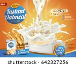 oatmeal ad  with milk pouring... | Shutterstock .eps vector #642327256