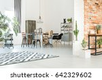 cosy and light dining room with ... | Shutterstock . vector #642329602