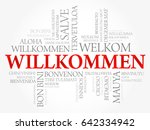 willkommen  welcome in german ... | Shutterstock .eps vector #642334942