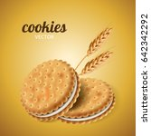 sandwich cookies with wheat ... | Shutterstock .eps vector #642342292