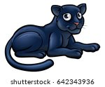 a black panther animal cartoon... | Shutterstock .eps vector #642343936