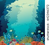 underwater coral reef and... | Shutterstock .eps vector #642346372