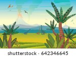 prehistoric landscape with... | Shutterstock .eps vector #642346645