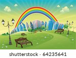 park with rainbow. funny... | Shutterstock .eps vector #64235641