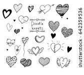 set of hand drawn doodle vector ... | Shutterstock .eps vector #642359536
