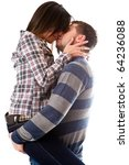 man and woman kiss isolated on...   Shutterstock . vector #64236088