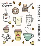 hand drawn doodle coffee set.... | Shutterstock .eps vector #642364192