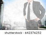 double exposure businessman on... | Shutterstock . vector #642376252