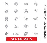 sea animals  ocean creatures ... | Shutterstock .eps vector #642380812