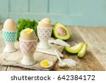hard   boiled eggs in holders... | Shutterstock . vector #642384172