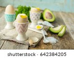 soft   boiled eggs in holders... | Shutterstock . vector #642384205