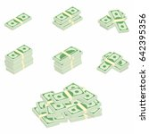 dollars. packages of banknotes... | Shutterstock .eps vector #642395356