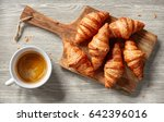freshly baked croissants and... | Shutterstock . vector #642396016