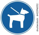 Stock vector dogs on leash sign blue vector 642396052