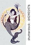 beautiful mermaid girl sitting...   Shutterstock .eps vector #642401476