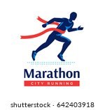 running marathon logo or label. ... | Shutterstock . vector #642403918