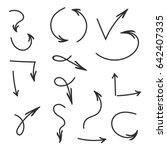 hand drawn vector arrows set.... | Shutterstock .eps vector #642407335