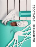 flat lay of modern white shoes. ...   Shutterstock . vector #642410032