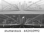 pedestrian bridge across the... | Shutterstock .eps vector #642410992