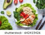 balanced nutrition. fresh salad ... | Shutterstock . vector #642415426