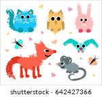 Cute Animals Set. Painted...