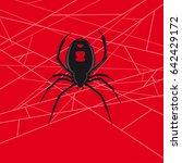 black widow spider vector in web   Shutterstock .eps vector #642429172
