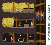 men extract coal in the mine.... | Shutterstock .eps vector #642432346