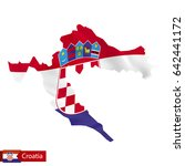 croatia map with waving flag of ... | Shutterstock .eps vector #642441172