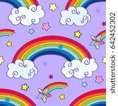 hand drawn cartoon rainbow ...   Shutterstock . vector #642452302