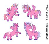 set of pink unicorns white... | Shutterstock . vector #642452962