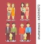 set of gay lgbt happy families. ...   Shutterstock . vector #642454072