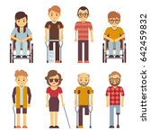 disabled persons flat icons.... | Shutterstock . vector #642459832