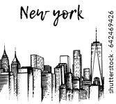 manhattan skyline. new york... | Shutterstock .eps vector #642469426