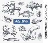 seafood sketch illustrations... | Shutterstock .eps vector #642473392