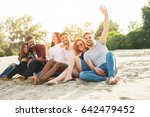 group of young people taking a... | Shutterstock . vector #642479452