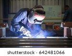 male welding steel beam... | Shutterstock . vector #642481066