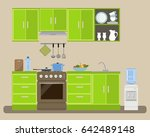modern kitchen in a green color.... | Shutterstock .eps vector #642489148