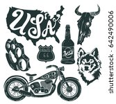 motorcycle set of isolated... | Shutterstock . vector #642490006