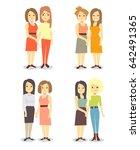 set of happy gay lgbt women... | Shutterstock . vector #642491365
